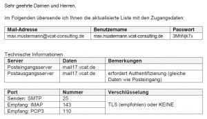 Ausschnitt Beispiel Zugangsdaten E-Mail-Konto