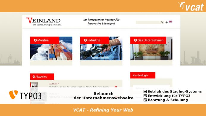 Relaunch für TYPO3-Website der VEINLAND GmbH