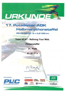 Urkunde 17. Potsdamer AOK Halbmarathonstaffel