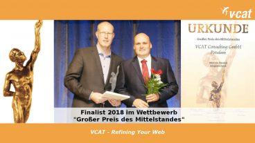 VCAT ist Finalist 2018 beim Großen Preis des Mittelstandes