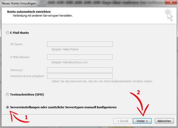 E-Mail-Konto einrichten - MS Outlook 2010 - Schritt 3