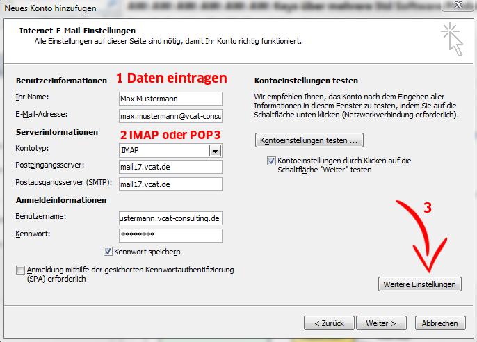 E-Mail-Konto einrichten - MS Outlook 2010 - Schritt 5