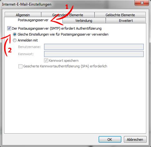 E-Mail-Konto einrichten - MS Outlook 2010 - Schritt 6