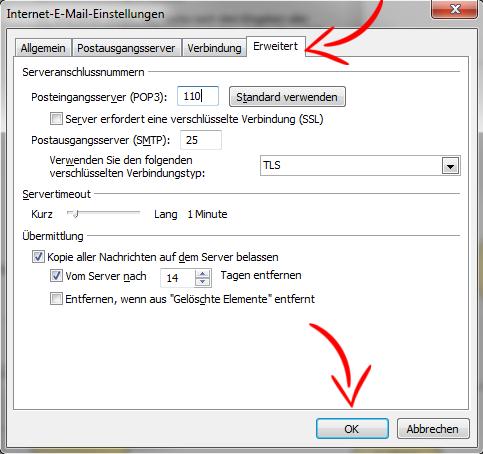 E-Mail-Konto einrichten - MS Outlook 2010 - Schritt 7 (POP3)