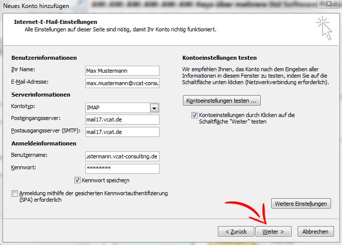 E-Mail-Konto einrichten - MS Outlook 2010 - Schritt 8