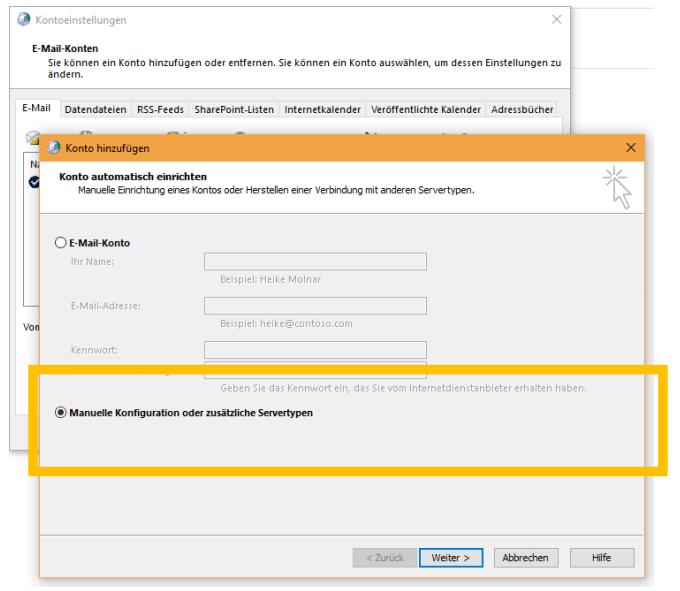 E-Mail-Konto einrichten - MS Outlook 2016 - Schritt 5
