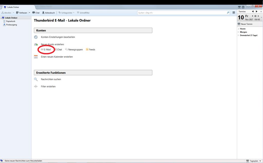 E-Mail-Konto einrichten - Thunderbird - Schritt 2